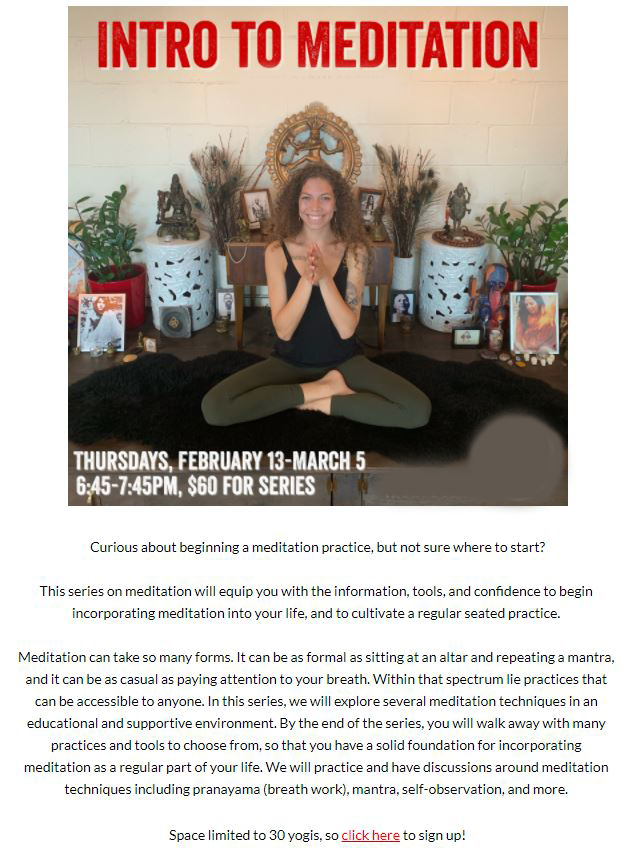 yoga newsletter good example